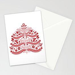 Red Scandinavian Folk Art Christmas Tree Stationery Cards