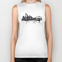 seattle Biker Tanks featuring Seattle. by Dioptri Art