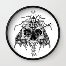 Moth Skull Wall Clock