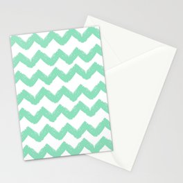 Hand-Drawn Chevron (Mint & White Pattern) Stationery Cards