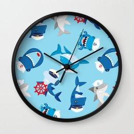 Shark Sailor Neck Gator Nautical Animal Sharks Blue Wall Clock