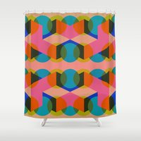 60s Shower Curtains featuring Geometric 60s by Lilly Marfy