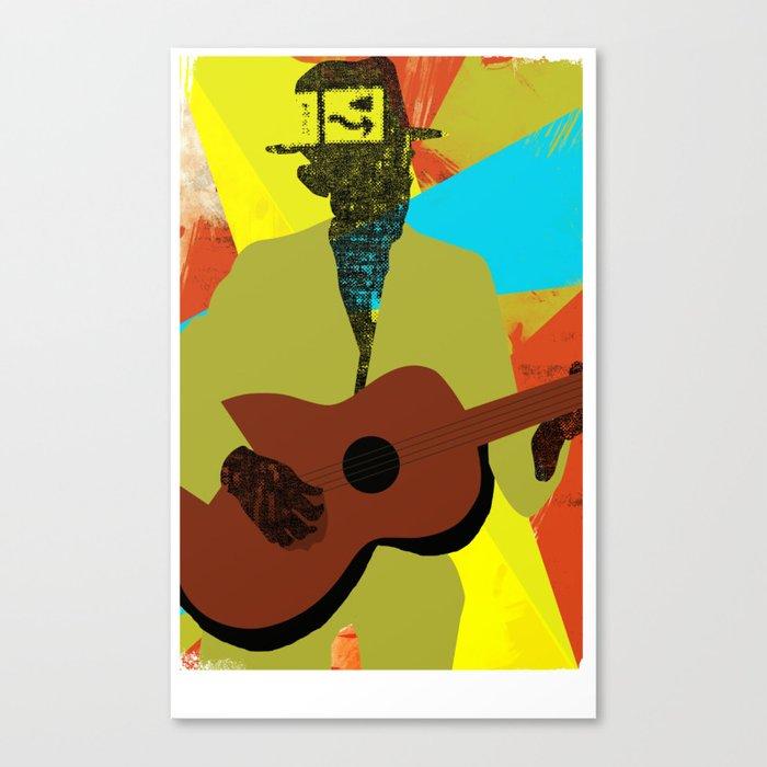Abstract Halftone Bluesman Canvas Print