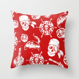 Red Pirate Pattern Throw Pillow