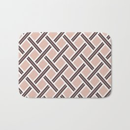Modern Open Weave Pattern in Neutrals and Plums Bath Mat