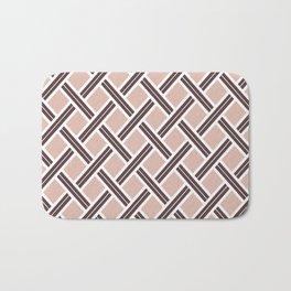Modern Open Weave Pattern in Neutrals and Plums Bath Mat