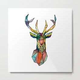 Colorful deer geometrical Metal Print