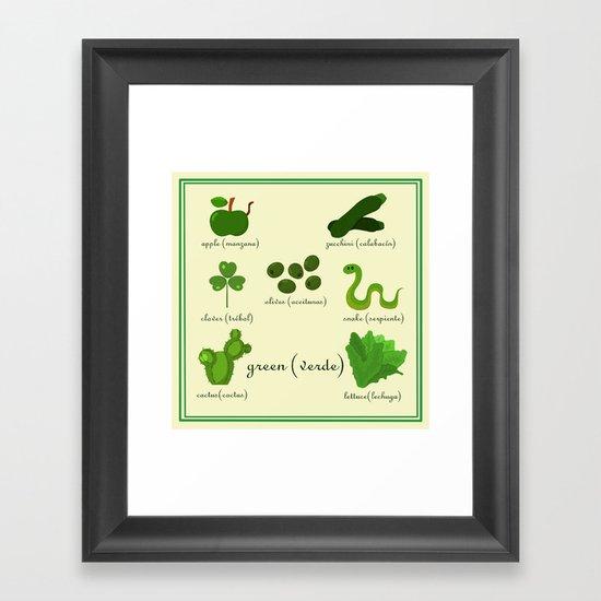 Colors: green (Los colores: verde) Framed Art Print
