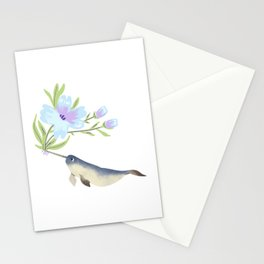 Narwhal Flowers Lavender Blue  Stationery Cards