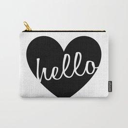 Hello Heart Wall Art #4 Black Heart Carry-All Pouch