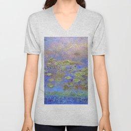 Water Lillies - Claude Monet (indigo blue) Unisex V-Neck