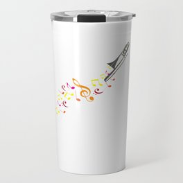 Trombone And Notes Aerophone Music Notes Instrument Player Musicians Gift Travel Mug