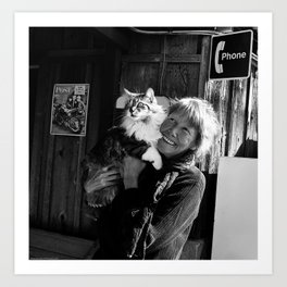 The Lady and her Cat. Art Print
