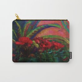 RED GERANIUMS GREEN SUCCULENT PAINTING Carry-All Pouch
