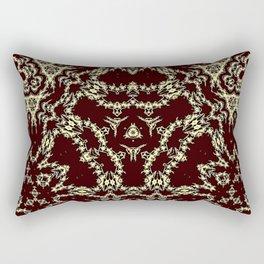 Brown Ornamental Geometric Mosaic Rectangular Pillow