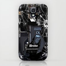 Broken, rupture, damaged, cracked black apple iPhone 4 5 5s 5c, ipad, pillow case and tshirt Slim Case Galaxy S4