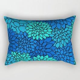 Floral Pattern - Shades of Blue Flower Patterns Rectangular Pillow