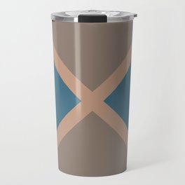 Brown Blue Minimal Diagonal Line Pattern 2021 Color of the Year Canyon Dusk & Accent Shades Travel Mug