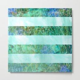 Turquoise Stripes Metal Print