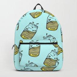 Cute Lemonade Mason Jar Summer Drink Teal Pattern Backpack