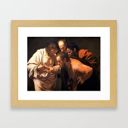 The Incredulity of Saint Thomas by Caravaggio (1602) Framed Art Print