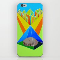 racoon iPhone & iPod Skins featuring Crystal Racoon by Cariann Dominguez