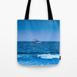 Deep Blue Fishing Tote Bag