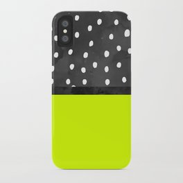 Black white polka dots bold neon lime color block iPhone Case