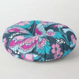 Butterflies in Blue Floor Pillow