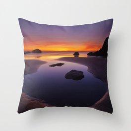 Arcadia Beach Reflections Throw Pillow