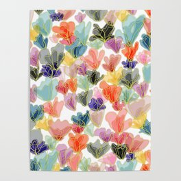 Gold Flowers Poster