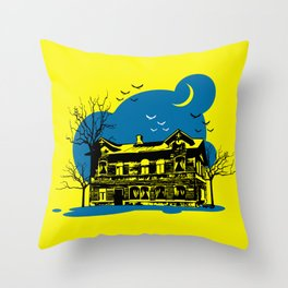 Scary house in the night Throw Pillow