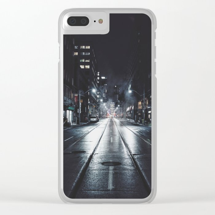 Night street reflect Clear iPhone Case