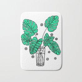 Green Monstera Cuttings Bath Mat