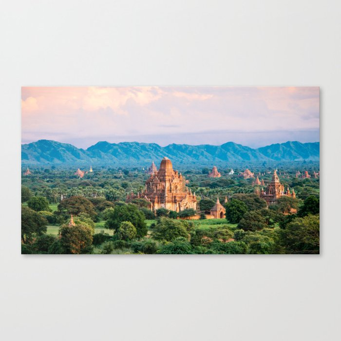 Temple glows in the fields of Bagan Fine Art Print Canvas Print