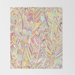 Abstract pink yellow teal hand painted bohemian feathers Throw Blanket