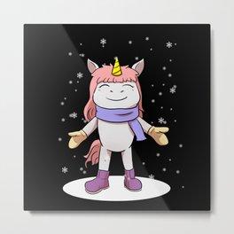 Unicorn Winter Metal Print