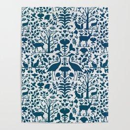 Folk Art Pattern Blue Teal on Gray Poster