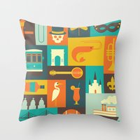new orleans Throw Pillows featuring New Orleans by Ariel Wilson