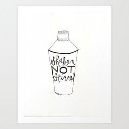 shaken in black Art Print