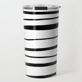 Black & White Handrawn Stripes Travel Mug