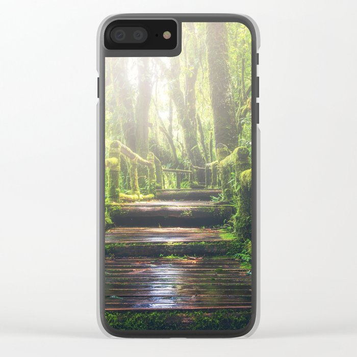 Green Jungle Forest Path Clear iPhone Case