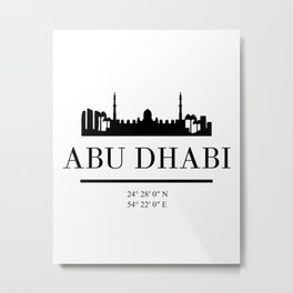 ABU DHABI UAE BLACK SILHOUETTE SKYLINE ART Metal Print