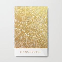 Gold Manchester map Metal Print