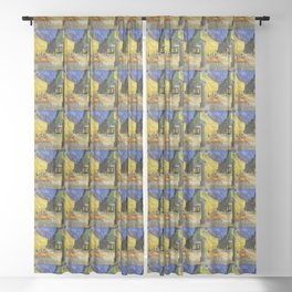 "Van Gogh , "" Cafe Terrace at Night "" Sheer Curtain"