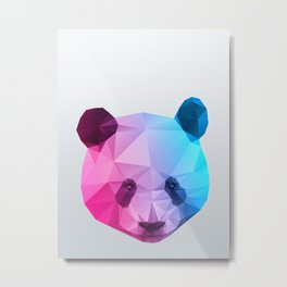 Polygon Panda Bear Metal Print