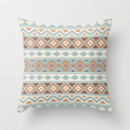 Aztec Essence Ptn IIIb Blue Crm Terracottas Throw Pillow