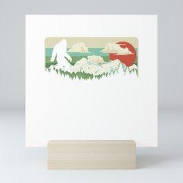 Bigfoot Nature & Outdoor Vintage Mountains Retro T-Shirt Mini Art Print