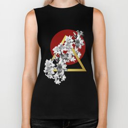 Lilies, Lily Flowers on Red Biker Tank