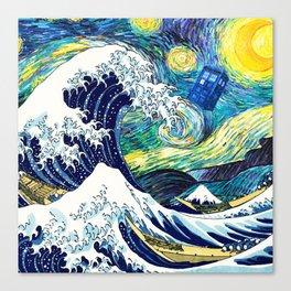 Tardis Starry Wave Night Canvas Print